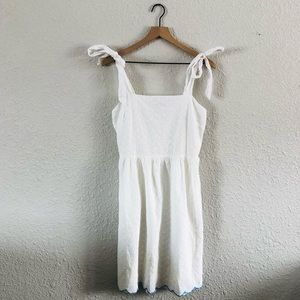 White Eyelet Tie Strap Summer Dress
